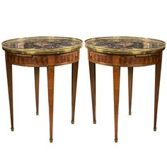 Pair of Marble-Top Bouillotte Tables by Maison Jansen | From a unique collection of antique and modern gueridon at https://www.1stdibs.com/furniture/tables/gueridon/