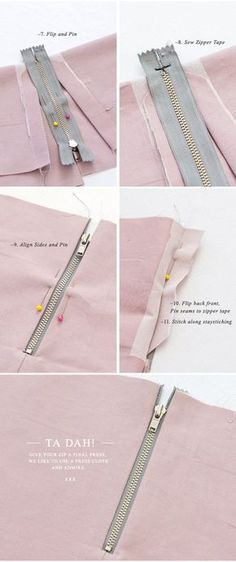 { Cómo : } Coser una cremallera expuesta (con una costura) Pattern Runway - Sewing Patterns for the modern seamstress.: {How to:} Sew an Exposed Zipper (with a seam) Sewing Basics, Sewing Hacks, Sewing Tutorials, Sewing Crafts, Sewing Patterns, Sewing Tips, Dress Patterns, Sewing Ideas, Shift Dress Pattern