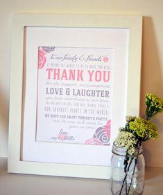 Thank you wedding 8x10 print- wedding sign- thank you wedding sign- to our family and friend wedding sign on Etsy, $13.01 AUD