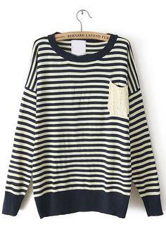 Navy White Striped Long Sleeve Pocket Knit Sweater