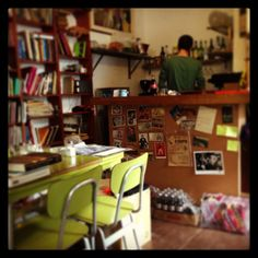 This Tel Aviv cafe is also a used bookstore called The Little Prince. I love to work here.