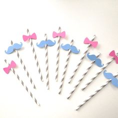 Gender Reveal Party  Mustache and Bow Tie Straws  by TheManicMoose, $10.00
