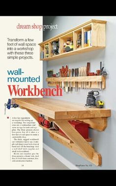Wall-mounted workbench