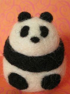 Panda Bear Needle Felted Wool Sculpture by BrokenArrowGoods Felted Soap, Wet Felting, Needle Felting, Needle Felted Animals, Felt Animals, Wooly Bully, Felting Tutorials, Felt Ball, Felt Diy