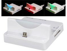 Soporte multifuncional con indicador LED y lector de tarjetas para teléfonos móviles Samsung (blanco)