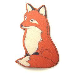Happy Red Fox Wood Brooch Pin
