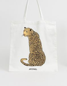 8b7c18347 Monki Leopard placement organic cotton tote bag in off white