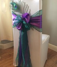 Chair cover with double sash and peacock feather accessory