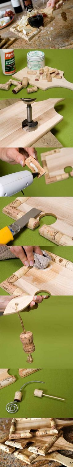 Cork-lined cutting board- DIY upcycled wine cork project