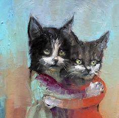 ARTWORK by RK Schlueter: BFFs Bffs, Inspire Me, Oil On Canvas, Kitty, Planet Earth, Creative, Artwork, Artist, Painting