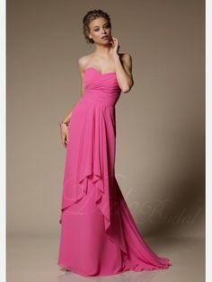 Didobridal.com: Fuchsia Pleated Sheath Sweetheart Floor-length Chiffon Bridesmaid Dress