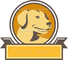 Yellow Labrador Golden Retriever Head Circle Retro Vector Stock Illustration. 'Illustration of a yellow labrador golden retriever dog head looking to the side viewed from front set inside circle with sunburst in the background done in retro style. #illustration  #YellowLabradorGoldenRetriever