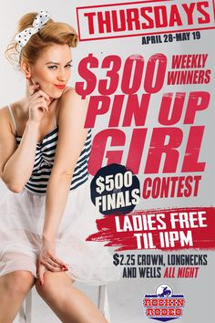 2016 edition of the #PinUpGirl contest poster/flyer design for Rockin Rodeo #nightclub in Bossier City...