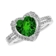 May Birthstone Checkerboard Emerald Heart Silver Ring Available Exclusively at Gemologica.com