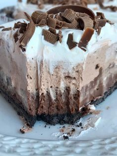 No Bake Triple Layer Chocolate Cream Pie   No bake triple layer chocolate cream pie is a must make for your Holiday table! Three layers of creamy chocolate pudding inside a chocolate cookie crust. No bake, 4 ingredients, and some fridge time is all you need for the best chocolate cream pie dessert   Together as Family #nobakepierecipes #nobakepie #chocolatecreampierecipe #chocolatecreampie #dessert #dessertrecipes #chocolaterecipes #chocolate