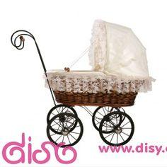 #carritosdemuñecas Carritos de muñecas antiguos - Cochecito de mimbre marrón pequeño