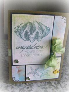 Congratulations You're one smart Clam handmade greeting card graduation accomplishment