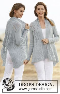 """Knitted DROPS jacket with lace pattern in """"Alpaca"""" and """"Kid-Silk"""". Worked sideways. Size: S - XXXL. ~ DROPS Design"""