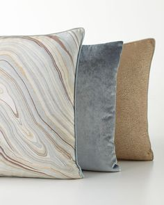 Moira Mineral Pillow, Moira Fawn Pillow and Venice Mist Blue Pillow Modern Throw Pillows, Blue Pillows, Decorative Throw Pillows, Silver Living Room, Rugs In Living Room, Eastern Accents, Pillow Sale, Textiles, Neiman Marcus