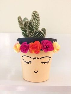 40 Trendy Ideas For Succulent Terrarium Diy Pictures Painted Plant Pots, Painted Flower Pots, Diy And Crafts, Crafts For Kids, Arts And Crafts, Cactus E Suculentas, Pot Plante, Cactus Flower, Flower Bookey