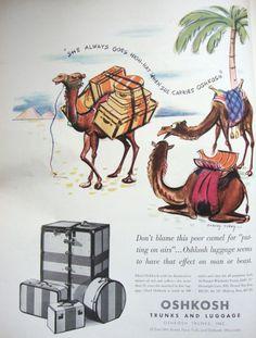 Advertising: Oshkosh Luggage, 1937  #Wisconsin #advertising #vintage