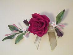 rose corsage cold porcelain wedding attendant by sweetpeasugarart, $40.00