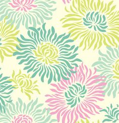 Laminated Cotton Fresh Cut Graphic Mums in Turquoise by Heather Bailey
