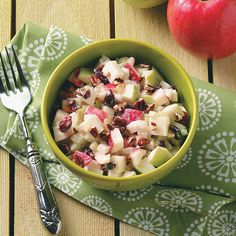Mom's Gingered Apple Salad Recipe -Here's a refreshing twist on the classic Waldorf salad. Seasoned with ginger, dried cranberries and water chestnuts, this combo is quick and delicious. —Rebekah Radewahn, Wauwatosa, Wisconsin