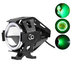 Lemonbest� Super Bright Motorcycle LED Headlight CREE U7 LED Fog Lamp DRL Spotlight Driving Daytime Light with Angel Eyes light Ring (Green)