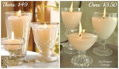 make candles in glassware use old pillar candles PB Goblet Candles vs. An Oregon Cottage Thrifted Candles