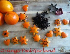 tutorial for a beautiful orange peel christmas garland from Sesame Seed Designs