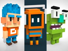 Little Voxel characters designed by William Santacruz. Connect with them on Dribbble; the global community for designers and creative professionals. Game Level Design, Game Character Design, 3d Character, Character Concept, Game Design, Concept Art, 3d Pixel, Minecraft Pixel Art, Isometric Art