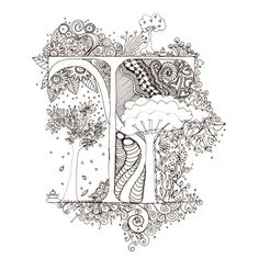 Monogram, Initial, Colour-Me-In Illuminated Letters - T, original art  drawings by melanie j cook