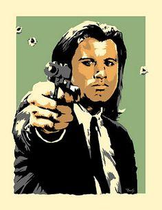"John Travolta Pulp Fiction Art Print by Billy Perkins"" Tarantino Films, Quentin Tarantino, John Travolta Pulp Fiction, Plakat Design, Pulp Fiction Art, Caricature Artist, Cinema Posters, Movie Poster Art, Cricut"