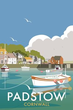 Vintage Travel Poster - Padstow Harbour - Cornwall - by Dave Thompson, Posters Uk, Vintage Films, Vintage Travel Posters, Railway Posters, Beach Posters, Poster Retro, Gig Poster, British Seaside, Tourism Poster