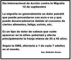 Datos de Migraña por la Dra. Nathalie Orens.