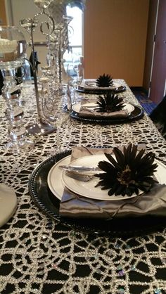 Black and Silver Table Setting....Impeccable Designs by Faith