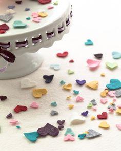 Felt Heart Confetti - how fun for Valentine's Day - bjl Diy Confetti, Wedding Confetti, My Funny Valentine, Valentines Day, I Love Heart, Crazy Heart, Festa Party, Felt Diy, Felt Hearts