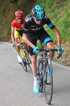 Vuelta a España 2014 - Stage 16: San Martín del Rey Aurelio - La Farrapona. Lago de Somiedo 160.5km - Chris Froome (Sky) and Alberto Contador (Tinkoff-Saxo) climb La Farrapona