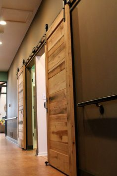 you can make a door out of old pallets that are usually free:)  I can get some from my sister/brother's companies:)