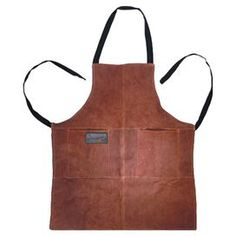 Grill apron with two front pockets.  Product: Grill apronConstruction Material: Suede and leatherColor: BrownFeatures:  Flame-retardant lining protects clothes from splatters and hot greaseOne size fits all with the adjustable neck strapTwo deep front pockets Dimensions: 30'' H x 25.75'' W x 0.13'' D