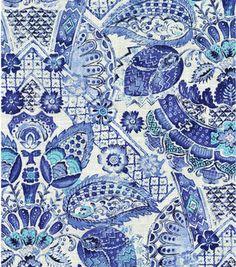 Home Decor Print Fabric- Williamsburg Byzantine Damask Porcelain