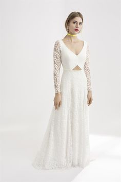 Full length white lace bridal dress with triangular cut-out panel and beautiful full-length lace sleeves. The bride wears bright pink lipstick and a yellow neon choker. Bright Pink Lipsticks, Rembo Styling, Lace Sleeves, Bridal Style, White Lace, Bridal Dresses, Beautiful Dresses, Bride, Formal Dresses