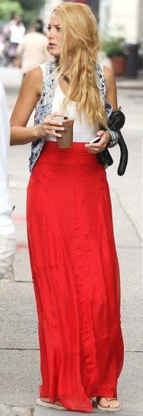 Red maxi skirt and comfyness