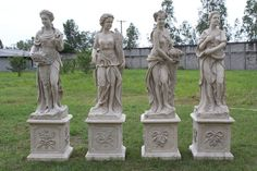 the Four Seasons faux Stone Marble statue set English Garden Statuary Outdoors