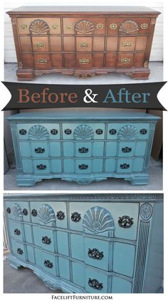Ornate dresser in Sea Blue with Black Glaze - Before and After from the Facelift Furniture DIY Blog.