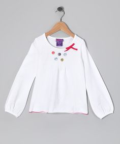 Take a look at this White Button Tee - Toddler & Girls by CR Cute, CRugged & Mini Bamba on #zulily today!