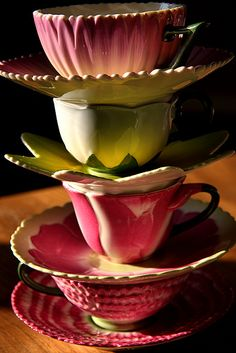 "I would LOVE these teacups just for decoration! I am so ""into"" flowers; especially brightly colored ones!"