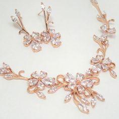 rose gold bridal necklace wedding jewelry set rose gold wedding necklace rose gold earrings rose gold wedding jewelry bridesmaid jewelry