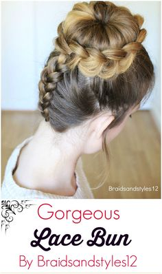 Gorgeous Upside-down Lace Braid Bun Updo Hairstyle by Braidsandstyles12 . Tutorial : https://www.youtube.com/channel/UC8ouEGIBm1GNFabA_eoFbOQ
